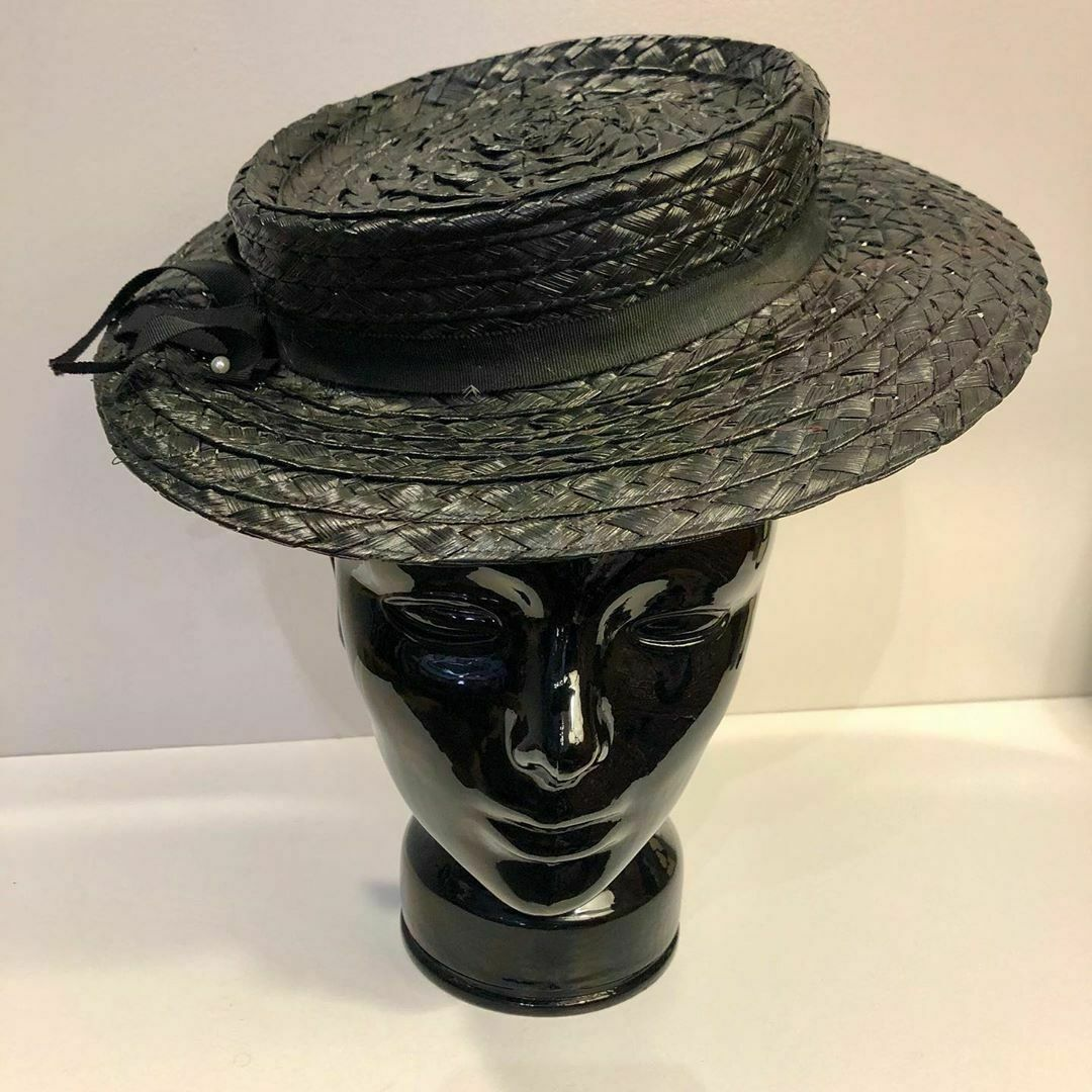 "1930s Vintage ""Burdines"" Straw Hat from ""Sunshine Fashions"""