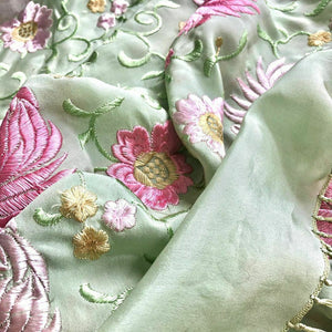 1930s Vintage Rayon Embroidered Shawl