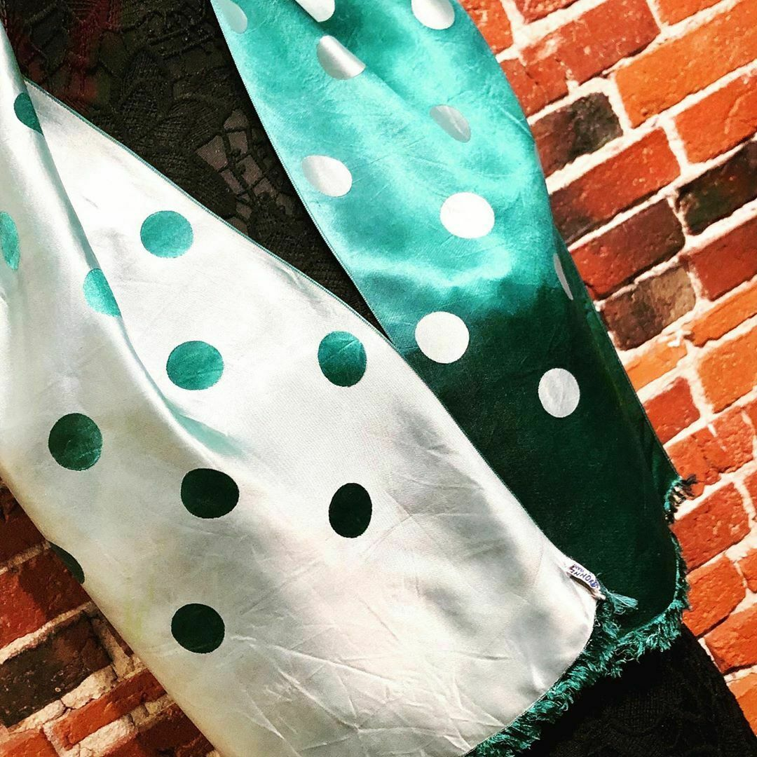 "1940s Made in France - Vintage Reversible Polka Dot ""Rayonne"" Scarf"