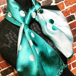 "Load image into Gallery viewer, 1940s Made in France - Vintage Reversible Polka Dot ""Rayonne"" Scarf"