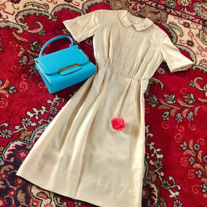 1950s Vintage Ecru Silk Tuxedo Pleat Dress