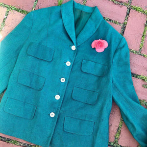 "1950s ""THE PIPER"" STYLED BY H&E SHAPIRO Linen Blazer/Jacket"