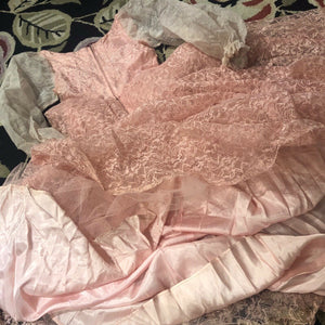 1950s Vintage Pink Lace Dress/Gown