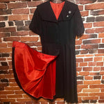 Load image into Gallery viewer, 1940s Vintage Dress with Orange Lining and Rhinestone Buttons