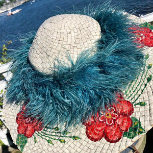 Antique Hand-Painted Hat with Ostrich Feathers