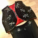 Load image into Gallery viewer, 1930s Vintage Velvet Sequin Bolero with Red Silk Lining
