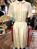 Load image into Gallery viewer, 1950s Vintage Ecru Silk Tuxedo Pleat Dress
