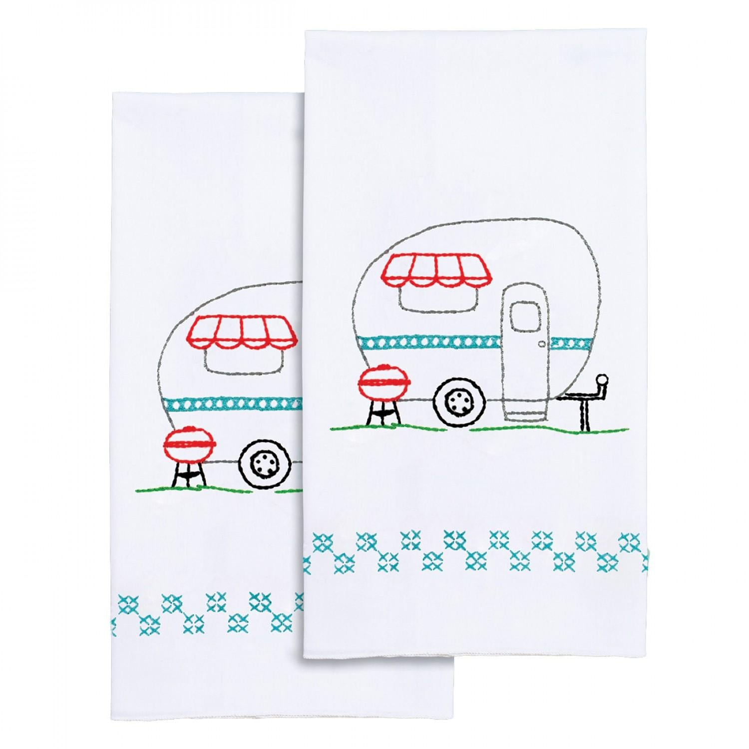 Camper Hand Towels Hand Embroidery