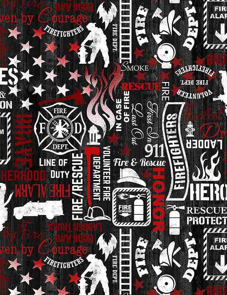 Fire Fighter Words C7732-Black