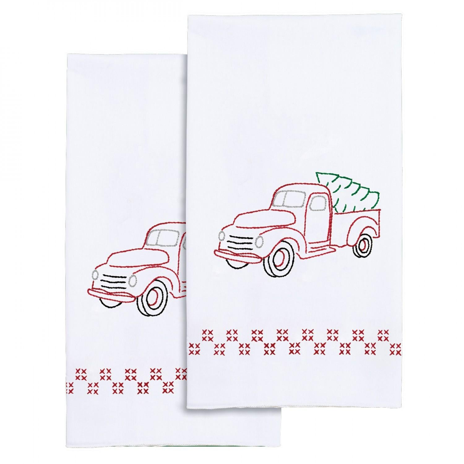 Old Truck Decorative Hand Towels Hand Embroidery