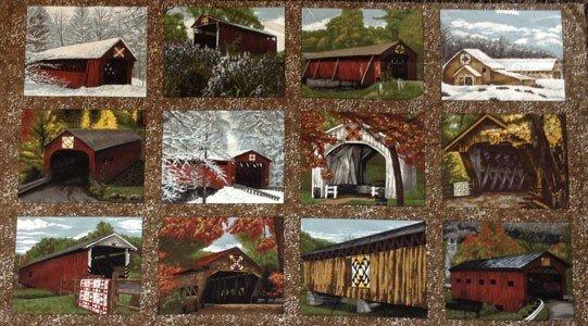 Quilt Barns & Bridges Panel