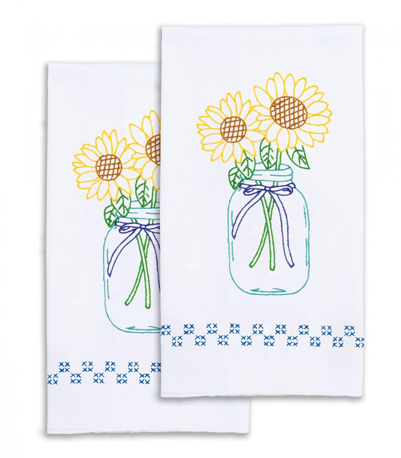 Sunflower Hand Towels Hand Embroidery