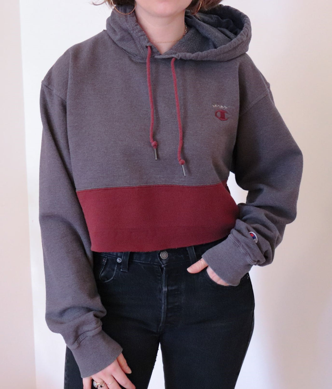 cropped two-tone champion hoodie