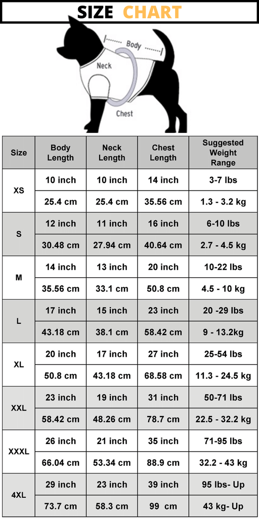 Dogiie size chart