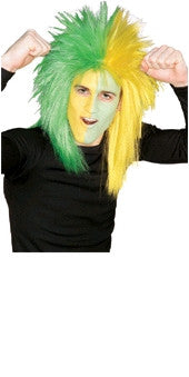 Sports Fanatic Green and Yellow Wig