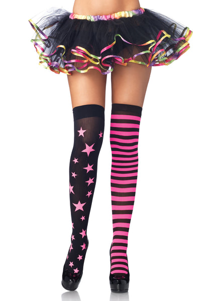 Pink & Black Stars and Stripes Thigh Highs