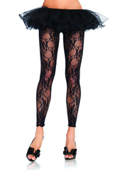 Floral Lace Footless Tights - Leg Avenue