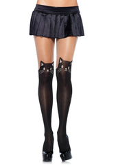 Meow Meow, these black cat opaque pantyhose  have a sheer thigh accent and black leg with cat's cute face.  Purr-fect for black friday or halloween.