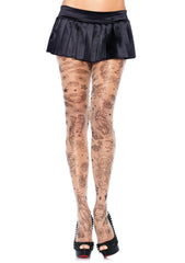 Have great legs in these Spandex Sheer Nautical Tattoo print Leg Avenue pantyhose, great addition to a Sailor or Uniform costume. CostumesNQ.