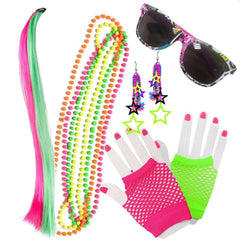 Bring back the 80's with this colourful festival Flash Dancer Kit, includes everything you need to look fluoro, assorted Beaded Necklace, 80's Glasses, Star Earrings Assorted Colours, Fluro Pink and Fluro Green Netted Hand Gloves with  a colourful Hair Clip. Costumes NQ