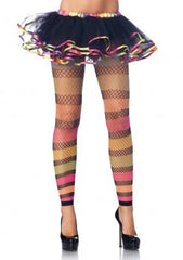 Footless Rainbow Striped Fishnet Tights