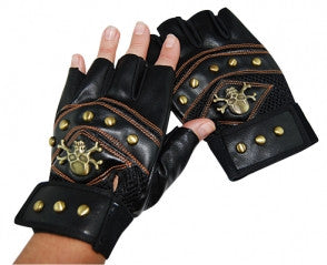 Steampunk Gloves with Studs and Crossbones