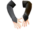 Satin Lycra Fingerless Gloves - Black
