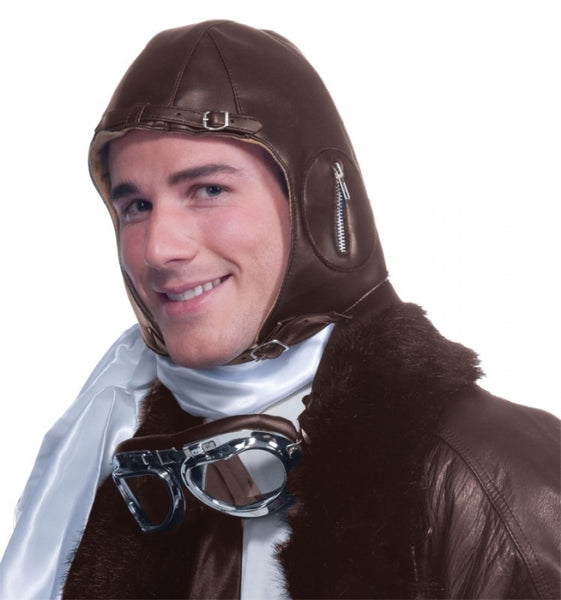 Deluxe Faux Leather Aviator Helmet