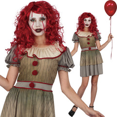 Is a clown always funny and friendly? Our Vintage Clown Costume Women's Adult Costume brings back a time when clown's looked scary. Try this costume for IT, the 2017 movie remake, this Halloween. Costume includes Dress with a ruffled neckline. Add white face paint and a red balloon and you will be ready to make a scary statement. Costumes NQ