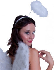 Complete your Angel Costume with this white Feather Angel Halo headband.This Feather Halo is a Height of 14cm and its Halo Circumference is approximately 30cm. It is the Perfect accessory to complete a Halloween, Party or Cheeky hens night costume. Headband only, one size fits most. CostumesNQ