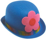 Clown Bowler - Blue with Flower