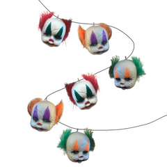 Try this cute Garland of little clown faces for your Halloween decorations. Includes 6 Mini Clown Heads on rope. Costumes NQ