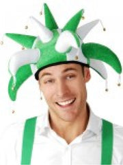 Jester-Hat-Green-White-NAF120-Tomfoolery-CostumesNQ