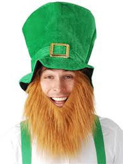 Follow the rainbow to try and find your pot of gold in our green Leprechaun Hat with attached red beard and gold buckle. Costumes NQ