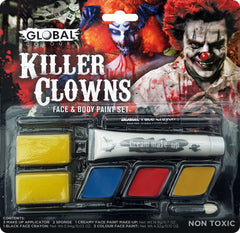 Create a stir & become a Crazy Killer Clown! Global Colour's paints are famous for the quality and safety of their water-based paints that are 100% non-toxic and non-staining, and are endorsed by professional artists and movie sets worldwide.  Includes: ~ 3 x Colour Make Up Palette - Blue, Red, Orange ~ 2 x Make Up Sponges ~ 1 x White Cream Make Up ~ 1 x Black Face Crayon ~ 1 x Make Up Applicator