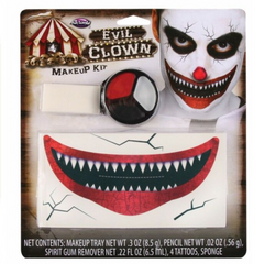 The fastest way to the killer clown look. This kit includes everything you need to transform into the creepiest clown this Halloween. Includes: Make Up Palette, Make Up Pencil, Sponge, 4 x Tattoos