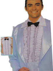 Complete your 1960's or Swinging 70's inspired costume with the Ruffled Tuxedo Shirt Front Kit.  (Jacket NOT included)  Includes : Ruffled Collar Shirt Front and Bow Tie  Costumes NQ