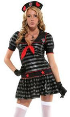 Forplay-Anchors-Anchors Away, become the first mate of darkness with this sexy Goth sailor costume. Sequin look sailor dress comes complete with a matching sailor hat.-550009-CostumesNQ