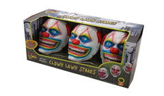 Create fear and terror in our front yard with our Creepy Clown Yard Stakes, they light up and make scary sounds, fantastic to frighten those trick N treaters.   Costumes NQ