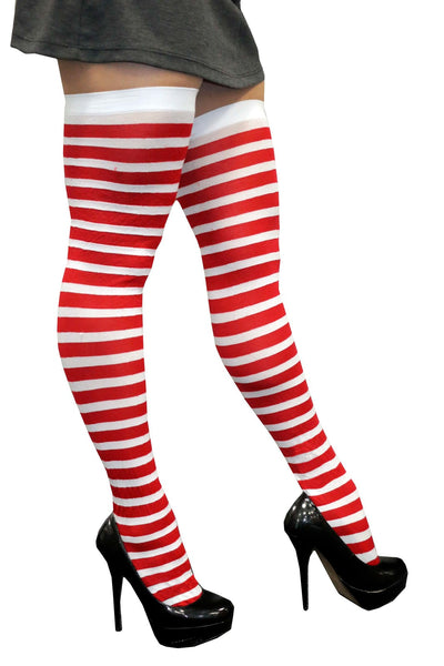 Red and White Stripy Knee-High Stockings-Adult