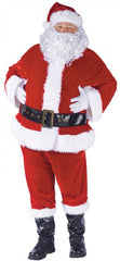 Thanks to its velour fabric and luxurious sheen, this traditional red suit will keep any Santa warm on a cold winter's night. Just at the presents and sleigh as our Sant complete package includes: Pullover Jacket | Pants with Pockets | Black Belt | Black Boot Tops | White Gloves | White Beard | Red Hat with White Hair.