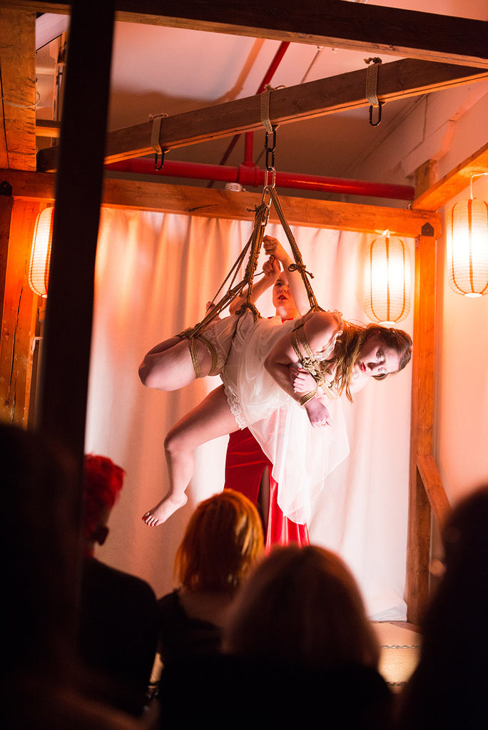 Our co-founder Kate and Chomolungma during Soirée Shibari, Photo by Noore