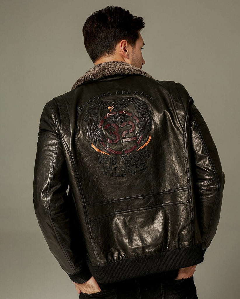 Appliqued Embroidered Vegetable Tanned Bomber Moto Jacket