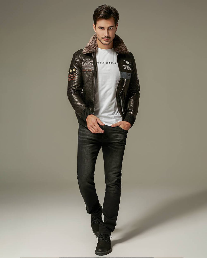 Appliqued Embroidered Vegetable Tanned Goatskin Moto Jacket