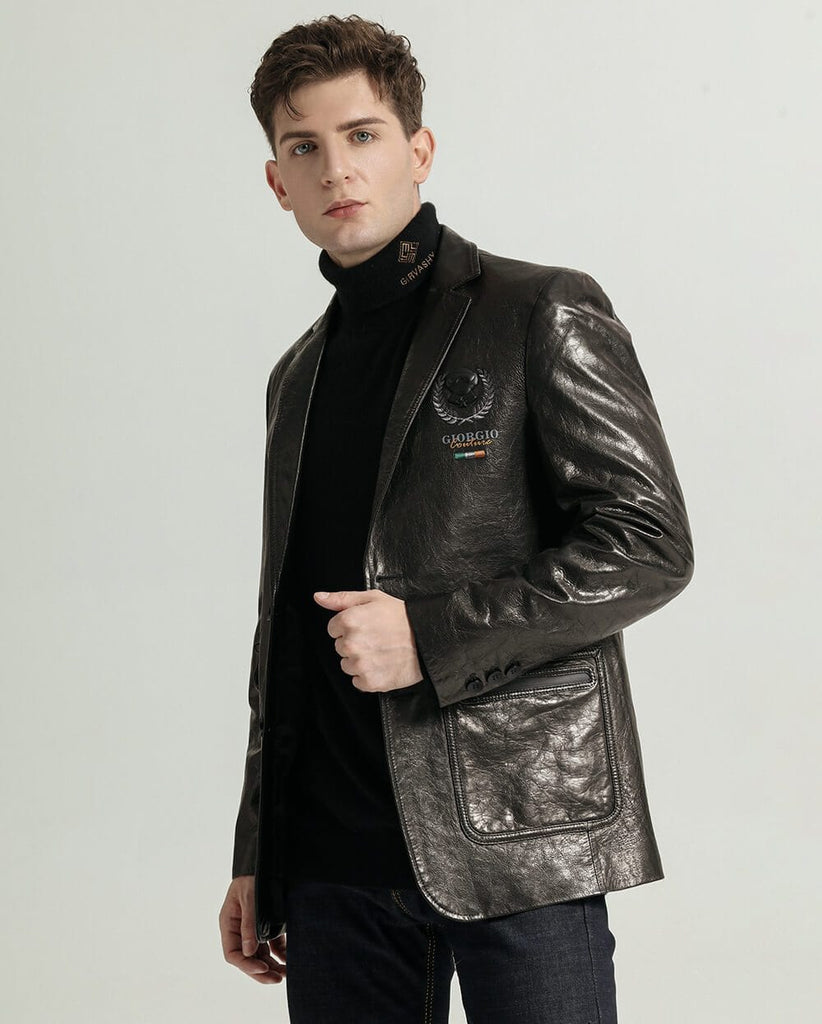 Businessman Embroidered Vegetable Tanned Goatskin Suit Jacket