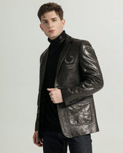 Load image into Gallery viewer, Businessman Embroidered Vegetable Tanned Goatskin Suit Jacket