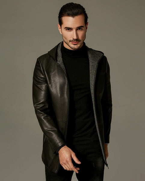 Businessman Hooded Leather Coat with Poly Lining