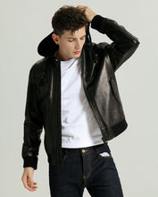 Load image into Gallery viewer, Casual Minimal Goatskin Leather Jacket with Knitted Hood