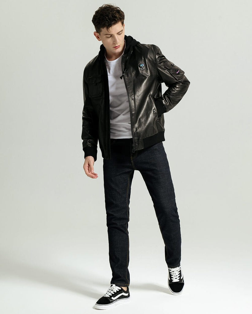 Casual Minimal Goatskin Leather Jacket with Knitted Hood