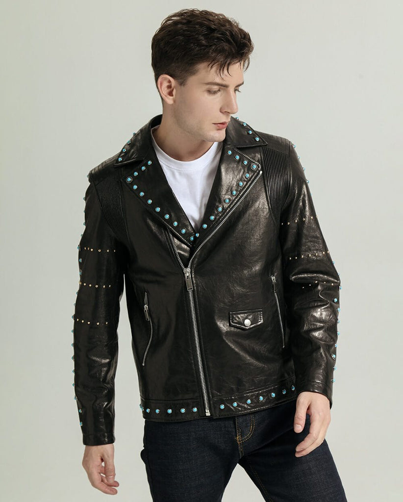Casual Vegetable Tanned Goatskin Sapphire Moto Jacket